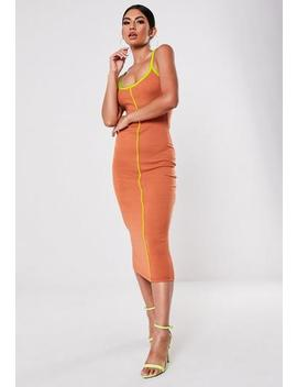 Orange Rib Neon Contrast Piping Strappy Midi Dress by Missguided