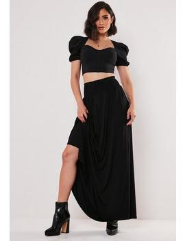 Black Jersey Shirred Waist Maxi Skirt by Missguided