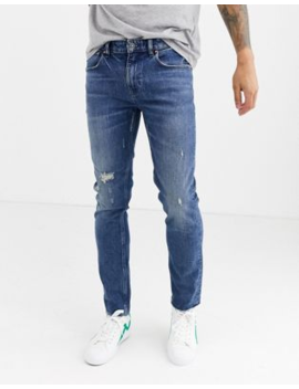 Asos Design Cone Mill Denim Skinny 'american Classic' Jeans In Mid Wash Blue With Abrasions And Raw Hem by Asos Design