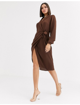 Asos Design Collared Wrap Midi Dress by Asos Design