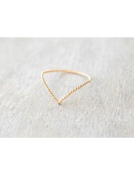 Super Thin Gold Twist Chevron Ring, V Ring, Dainty Gold Filled Ring, Pointy Ring, 14k Gold Rings For Women by Etsy