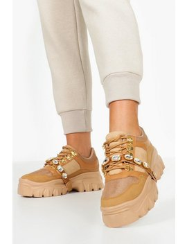 Embellished Strap Chunky Platform Hiker Trainers by Boohoo