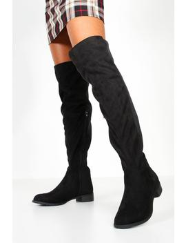 Over The Knee Elastic Back Boots by Boohoo