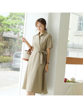 Click   Cuff Sleeve Wrap Front Dress With Sash by Click