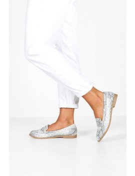 Wide Fit Snake Flat Loafers by Boohoo