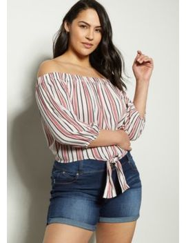 Plus White Striped Off The Shoulder Tie Front Blouse by Rue21