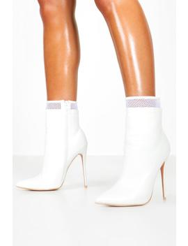 Mesh Insert Stiletto Shoe Boots by Boohoo