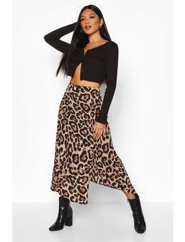 Leopard Split Midi Skirt by Boohoo