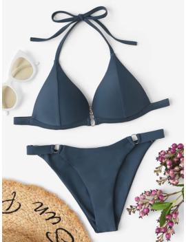 Seam Triangle Top With Ring Loop Bikini Set by Romwe