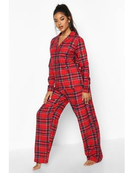 Brushed Check Button Through Pj Trouser Set by Boohoo