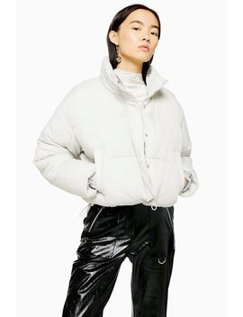 Grey Cropped Padded Puffer Jacket by Topshop