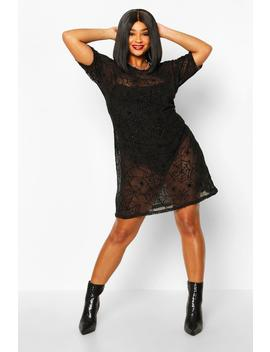 Plus Glitter Spider Web T Shirt Dress by Boohoo