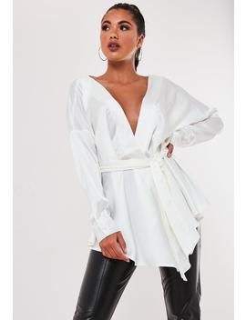 Ivory Satin Plunge Tie Waist Blouse by Missguided