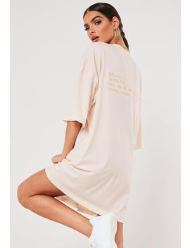 Sxf X Missguided Nude Oversized Slogan T Shirt Dress by Missguided