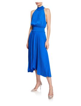 Renzo B Sleeveless Turtleneck Pleated Midi Dress by A.L.C.