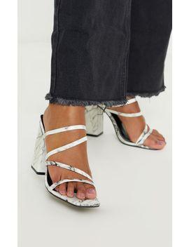 Marble Block Heel Strappy Mule Sandal by Prettylittlething