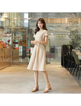 Click   Tie Waist Linen Blend Dress by Click
