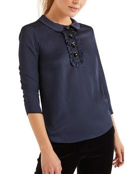 Sequin Button Top by Boden