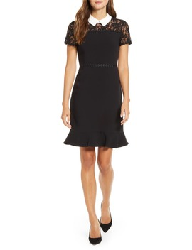 Lace Detail Collared Fit & Flare Dress by Karl Lagerfeld Paris