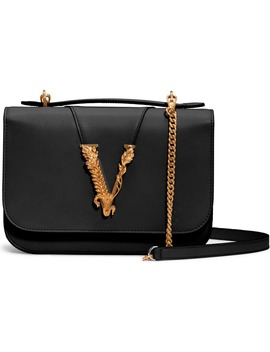 V Leather Top Handle Bag by Versace First Line