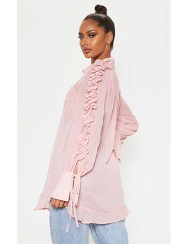 Pink Chiffon Ruffle Sleeve Blouse  by Prettylittlething