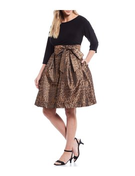 Plus Size Solid Boat Neck Top Leopard Print Bow Waist Detail Jacquard Skirt Party Dress by Jessica Howard