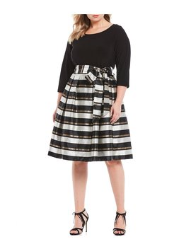 Plus Size Metallic Stripe Tie Waist Jacquard 3/4 Sleeve Party Fit And Flare Dress by Jessica Howard