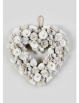 Floral Heart Christmas Wreath (38cm X 38cm X 9cm) by Matalan