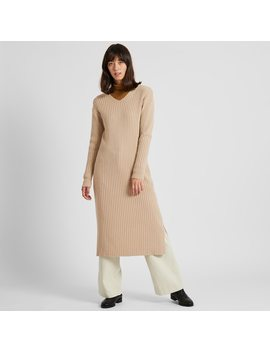 Women Wide Ribbed V Neck Knit Long Dress by Uniqlo