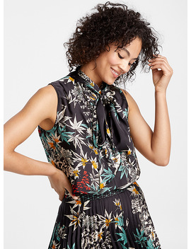 Anders Nocturnal Garden Tie Neck Blouse by Judith & Charles