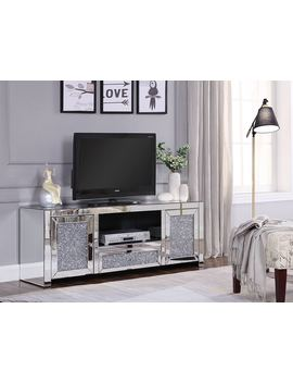 Acme Noralie Tv Stand In Mirrored And Faux Diamonds by Acme Furniture