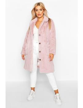 Plus Supersoft Faux Fur Button Through Coat by Boohoo