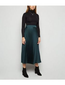 Dark Green Satin Pleated Midi Skirt by New Look
