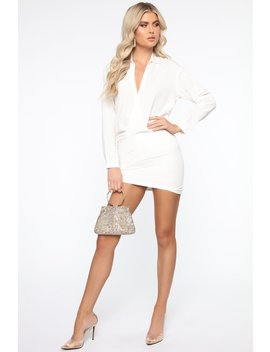 It's A Wrap Shirt Dress   White by Fashion Nova