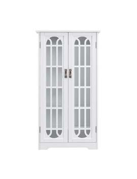 Harper Blvd Cherry Window Pane Media Cabinet   Painted/Wood Finish   Glass/Wood   White   2   Media Cabinets/Cabinet by Harper Blvd