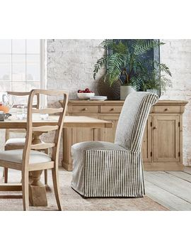 Pb Comfort Roll Slipcovered Dining Chair   Vintage Stripe, Black/Ivory by Pottery Barn