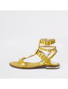 Yellow Gem Gladiator Sandals by River Island
