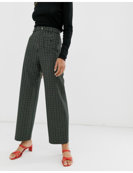&Amp; Other Stories Wide Leg Pants In Green Check by & Other Stories