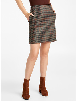 Earthy Check Wool Skirt by Contemporaine