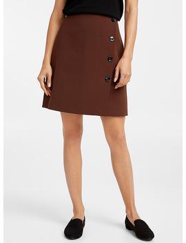 Techno Crepe Buttoned Miniskirt by Contemporaine