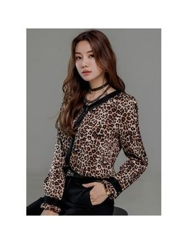 Styleonme   V Neck Piped Leopard Blouse by Styleonme