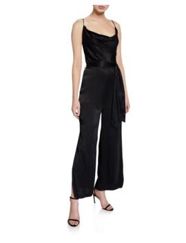 Cowl Neck Sleeveless Split Leg Jumpsuit by Bardot