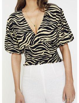 Amaia Zebra Print   Pale Yellow   Oma Top by Faithfull The Brand