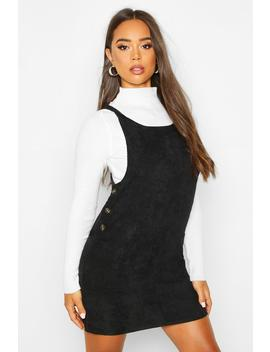 Cord Button Detail Pocket Pinafore Dress by Boohoo