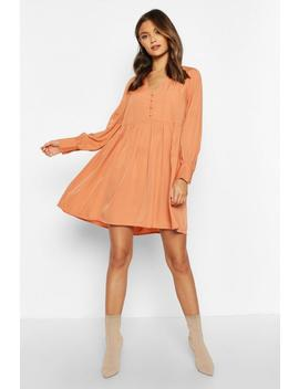 Woven Button Detail Smock Dress by Boohoo