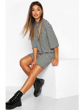 Multi Colour Stripe Oversized T Shirt Dress by Boohoo