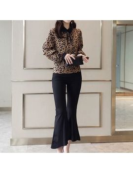Romantica   Set: Leopard Pattern Blouse + Cropped Boot Cut Pants by Romantica