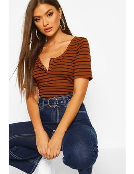 Stripe Rib Button T Shirt by Boohoo
