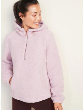 Plush Sherpa 1/2 Zip Hoodie For Women by Old Navy