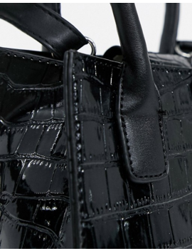 New Look Patent Croc Mini Tote Bag In Black by New Look
